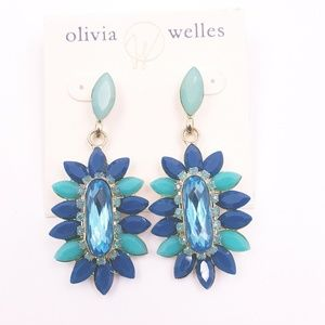 Gold & Blue Faceted Floral Stone Drop Earrings